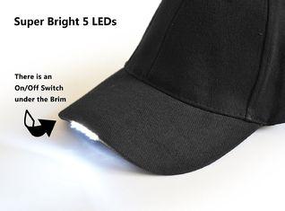 China Adjustable LED Baseball Hat DC 6V Input Voltage 5PCS Super Bright White LED supplier